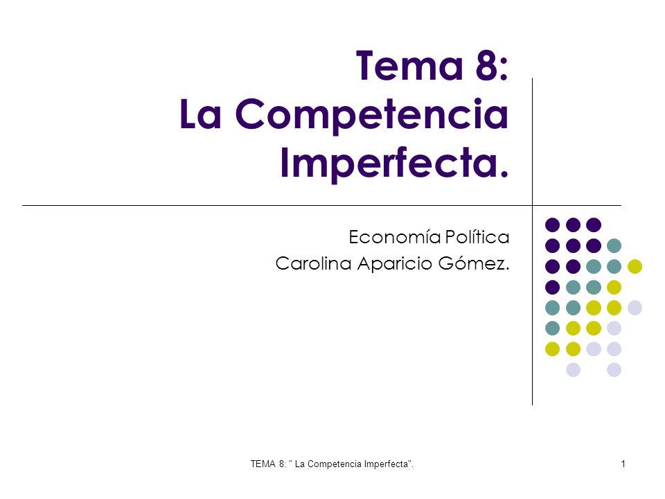 TEMA 8: La Competencia Imperfecta .42 Si comparamos las tres estructuras de mercado, podríamos establecer que la que tiene, mas poder es: Monopolio Oligopolio Competencia perfecta La curva de demanda del productor depende en gran medida de la actividad de los demás productores, ya que cualquier decisión tiene mucha repercusión en el mercado.