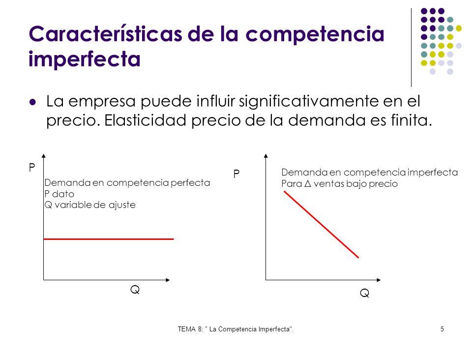 TEMA 8: La Competencia Imperfecta .36 6.Equilibrios en competencia monopolística En este tipo de mercado existen muchos productores, pero los producto si se pueden diferenciarse de los demás.