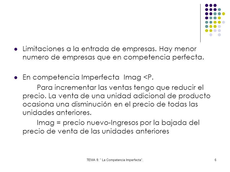 TEMA 8: La Competencia Imperfecta .37 El equilibrio es similar al del monopolio.