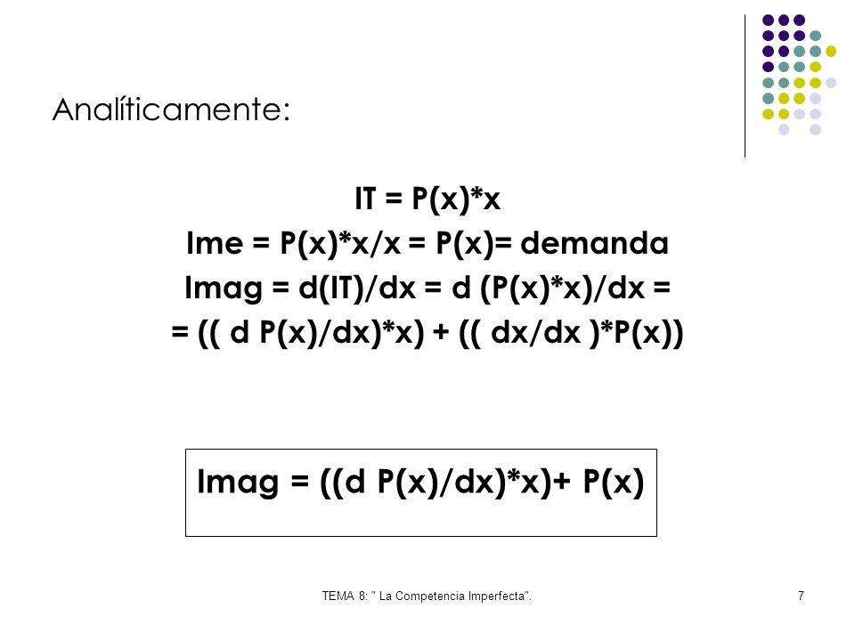 TEMA 8: La Competencia Imperfecta .8 Por otra parte: Elasticidad precio = Ep =- (dx/x)/(d P(x)/P(x)= = -(dx/d P(x))*(P(x)/x) Ep *(x/P(x))= - dx/d P(x) D P(x)/dx = -P(x)/(Ep* x) =- (1/EP)*(P(x)/x)
