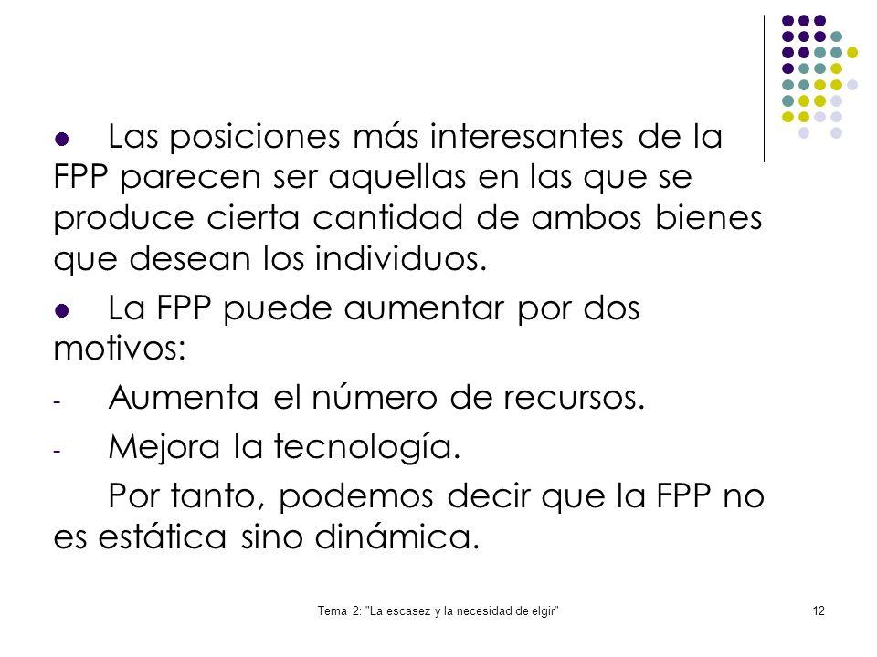 Tema 2: La escasez y la necesidad de elgir 12 Las posiciones más interesantes de la FPP parecen ser aquellas en las que se produce cierta cantidad de ambos bienes que desean los individuos.