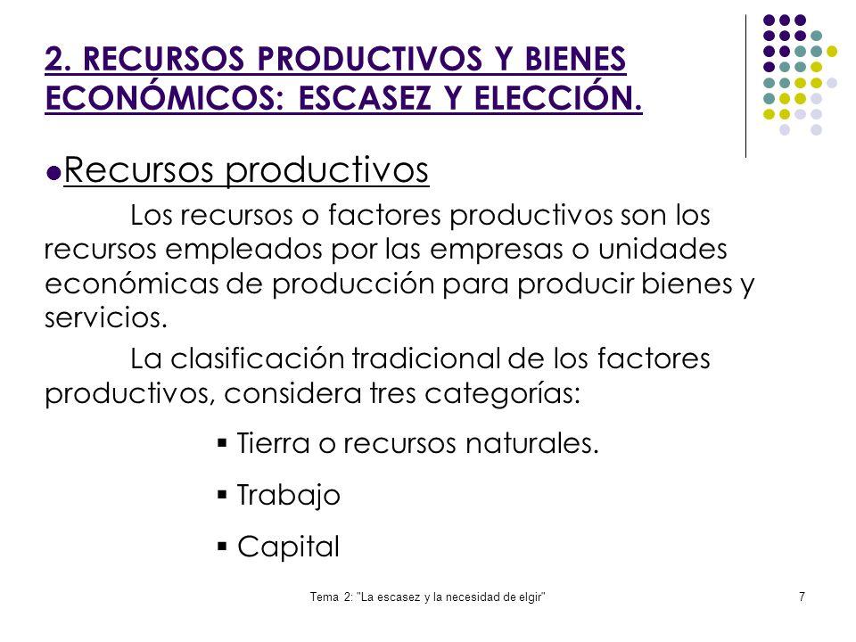 Tema 2: La escasez y la necesidad de elgir 7 Recursos productivos Los recursos o factores productivos son los recursos empleados por las empresas o unidades económicas de producción para producir bienes y servicios.