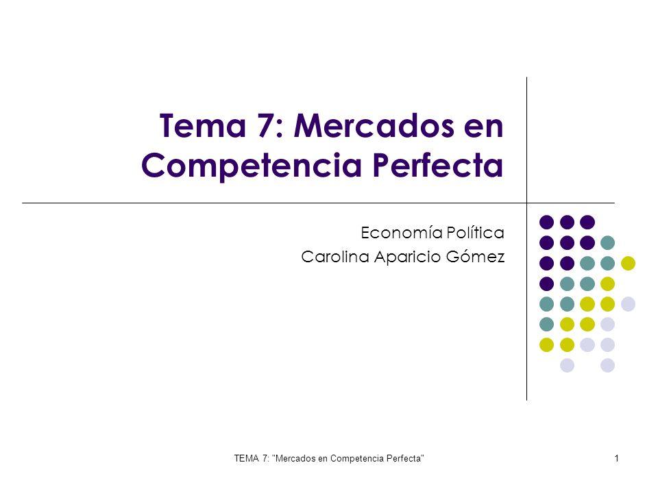 TEMA 7: Mercados en Competencia Perfecta 32 La decisiones a largo plazo son: Cantidad optima para maximizar beneficio (Cmag=Imag) Elegir la forma idónea de producir esa cantidad de equilibrio en cuanto a combinación mas adecuada de factores de trabajo y capital ¿Cómo va a producir.