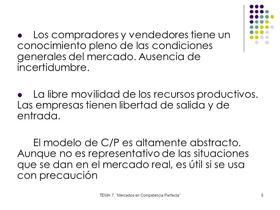 TEMA 7: Mercados en Competencia Perfecta 7 P Q QeQe PePe Punto de equilibrio: se igualan las cantidades ofrecidas y demandadas D S