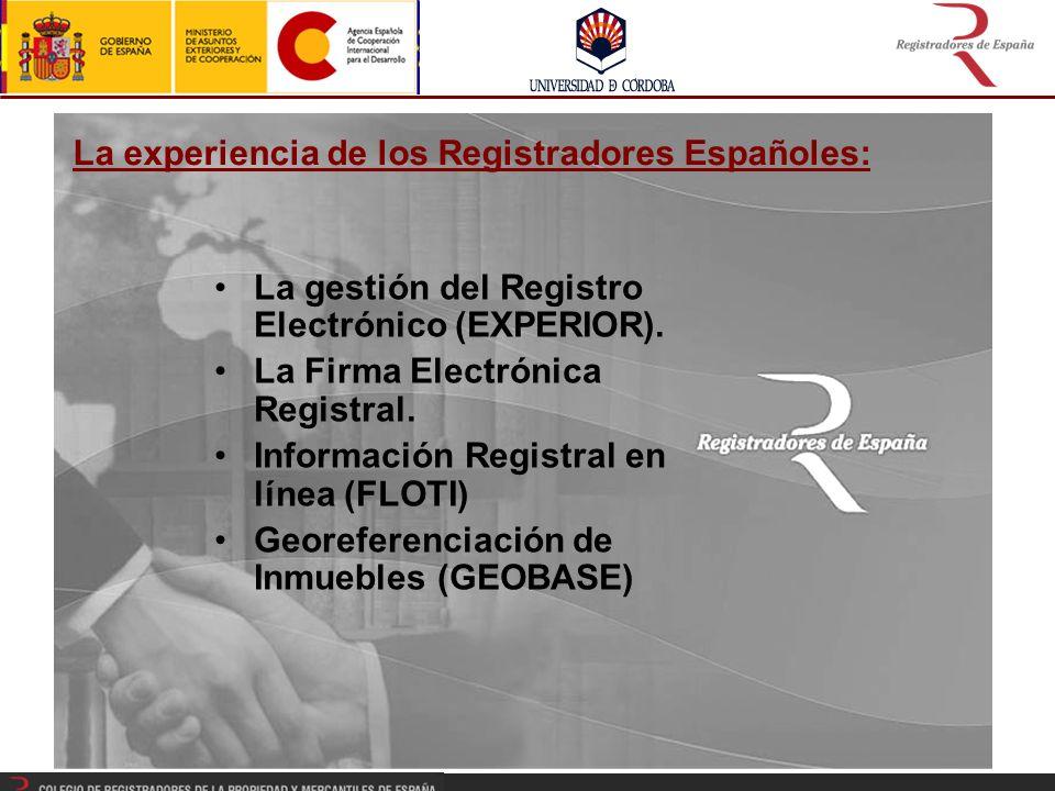 La experiencia de los Registradores Españoles: La gestión del Registro Electrónico (EXPERIOR).