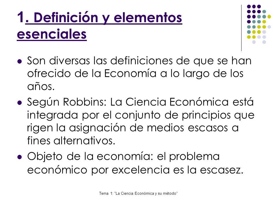 Tema 1: La Ciencia Económica y su método Proceso de construcción de un modelo: Teoría sobre realidad económica que se desea estudiar.