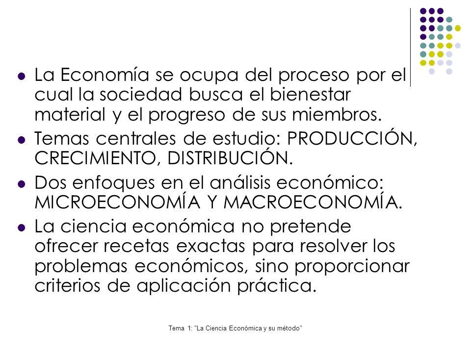 Tema 1: La Ciencia Económica y su método Las variables económicas son los elementos esenciales en un modelo económico.