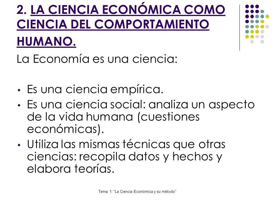 Tema 1: La Ciencia Económica y su método 3.