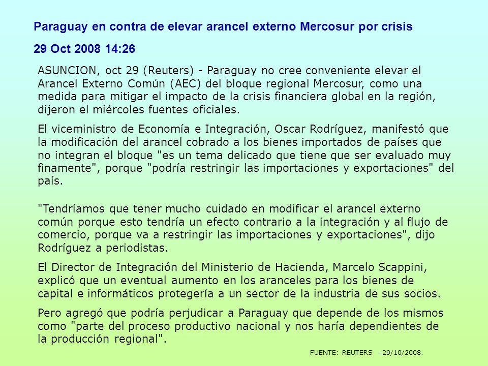 ASUNCION, oct 29 (Reuters) - Paraguay no cree conveniente elevar el Arancel Externo Común (AEC) del bloque regional Mercosur, como una medida para mit