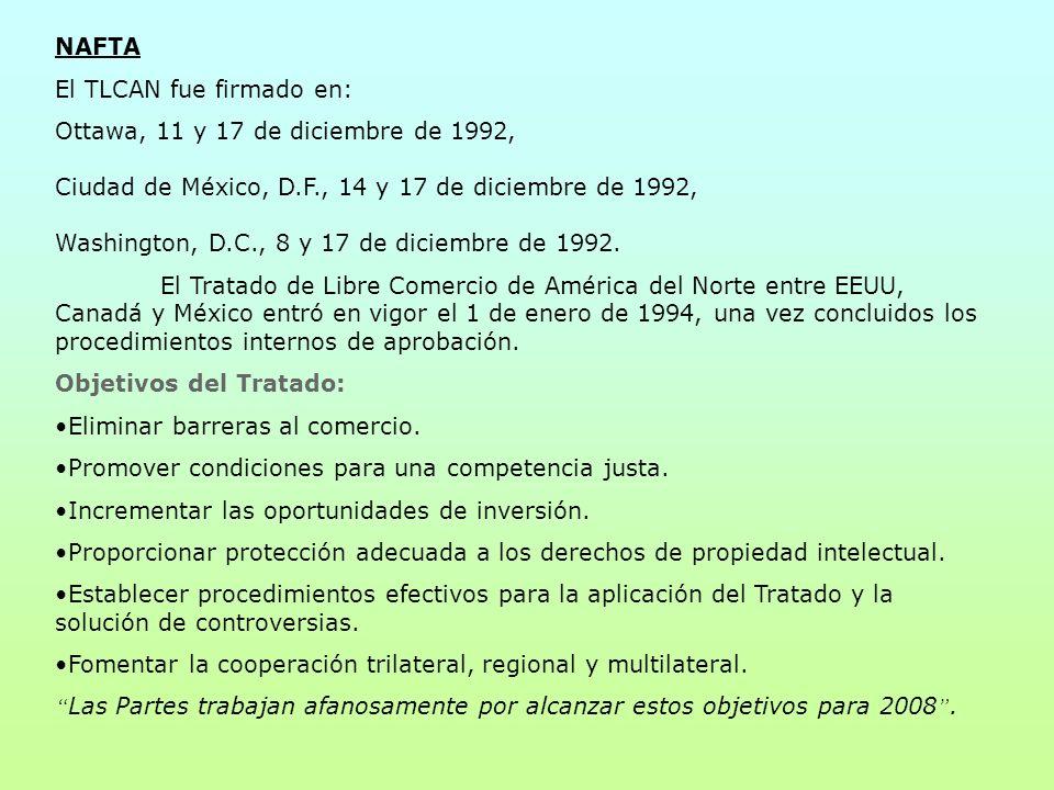 NAFTA El TLCAN fue firmado en: Ottawa, 11 y 17 de diciembre de 1992, Ciudad de México, D.F., 14 y 17 de diciembre de 1992, Washington, D.C., 8 y 17 de