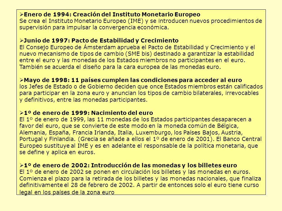 Enero de 1994: Creación del Instituto Monetario Europeo Se crea el Instituto Monetario Europeo (IME) y se introducen nuevos procedimientos de supervisión para impulsar la convergencia económica.
