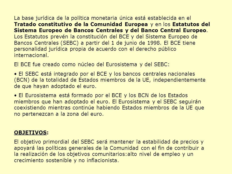 La base jurídica de la política monetaria única está establecida en el Tratado constitutivo de la Comunidad Europea y en los Estatutos del Sistema Europeo de Bancos Centrales y del Banco Central Europeo.