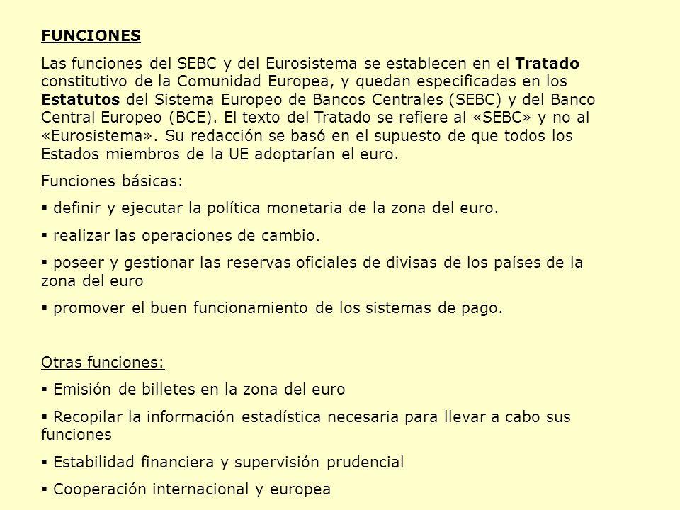 FUNCIONES Las funciones del SEBC y del Eurosistema se establecen en el Tratado constitutivo de la Comunidad Europea, y quedan especificadas en los Estatutos del Sistema Europeo de Bancos Centrales (SEBC) y del Banco Central Europeo (BCE).