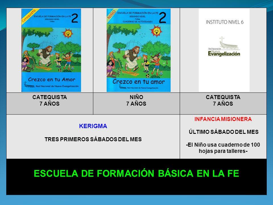 CATEQUISTA 6 AÑOS NIÑO 6 AÑOS CATEQUISTA 6 AÑOS KERIGMA TRES PRIMEROS SÁBADOS DEL MES INFANCIA MISIONERA ÚLTIMO SÁBADO DEL MES -El Niño usa cuaderno de 100 hojas para talleres- ESCUELA DE FORMACIÓN BÁSICA EN LA FE