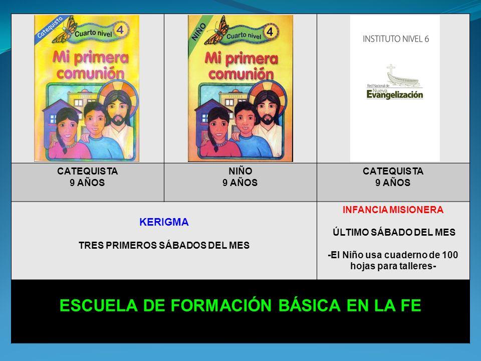 CATEQUISTA 8 AÑOS NIÑO 8 AÑOS CATEQUISTA 8 AÑOS KERIGMA TRES PRIMEROS SÁBADOS DEL MES INFANCIA MISIONERA ÚLTIMO SÁBADO DEL MES -El Niño usa cuaderno de 100 hojas para talleres- ESCUELA DE FORMACIÓN BÁSICA EN LA FE