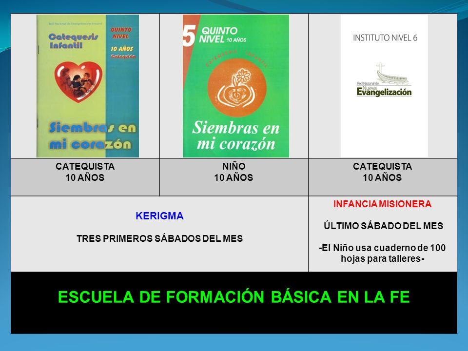CATEQUISTA 9 AÑOS NIÑO 9 AÑOS CATEQUISTA 9 AÑOS KERIGMA TRES PRIMEROS SÁBADOS DEL MES INFANCIA MISIONERA ÚLTIMO SÁBADO DEL MES -El Niño usa cuaderno de 100 hojas para talleres- ESCUELA DE FORMACIÓN BÁSICA EN LA FE