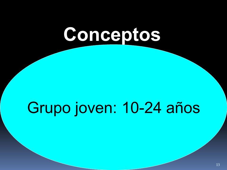 Conceptos Grupo joven: 10-24 años 13