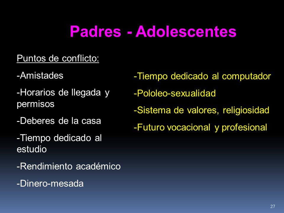 Padres - Adolescentes Puntos de conflicto: -Amistades -Horarios de llegada y permisos -Deberes de la casa -Tiempo dedicado al estudio -Rendimiento aca