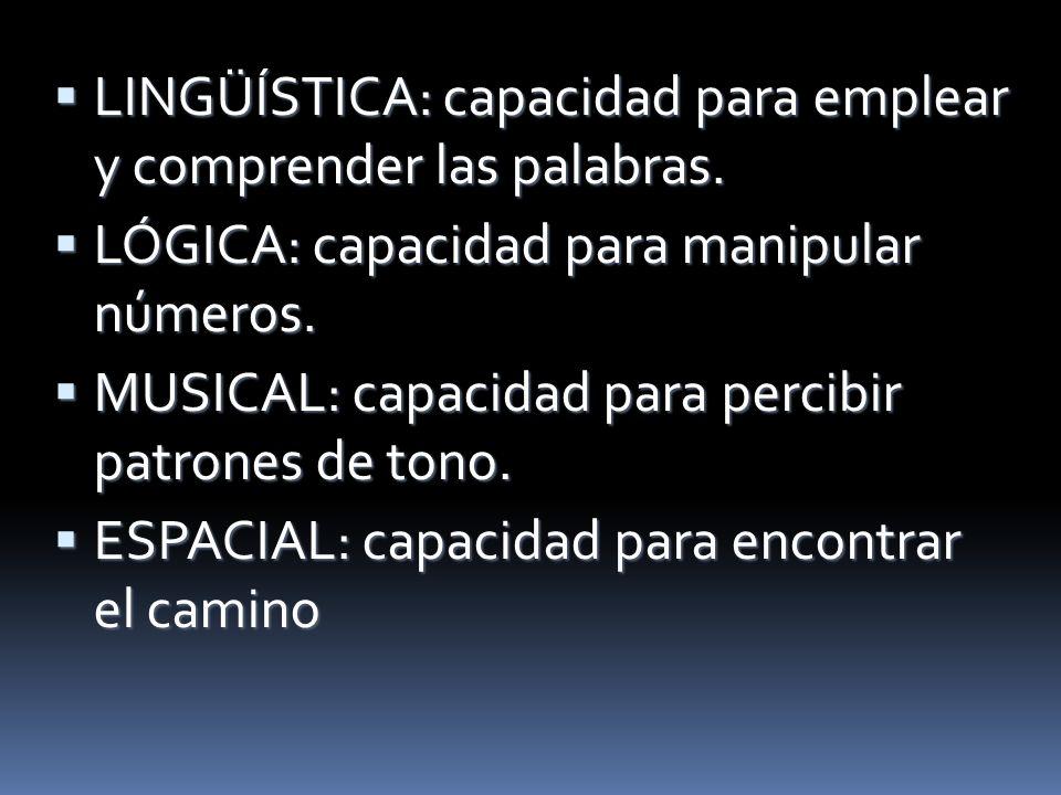 LINGÜÍSTICA: capacidad para emplear y comprender las palabras. LINGÜÍSTICA: capacidad para emplear y comprender las palabras. LÓGICA: capacidad para m