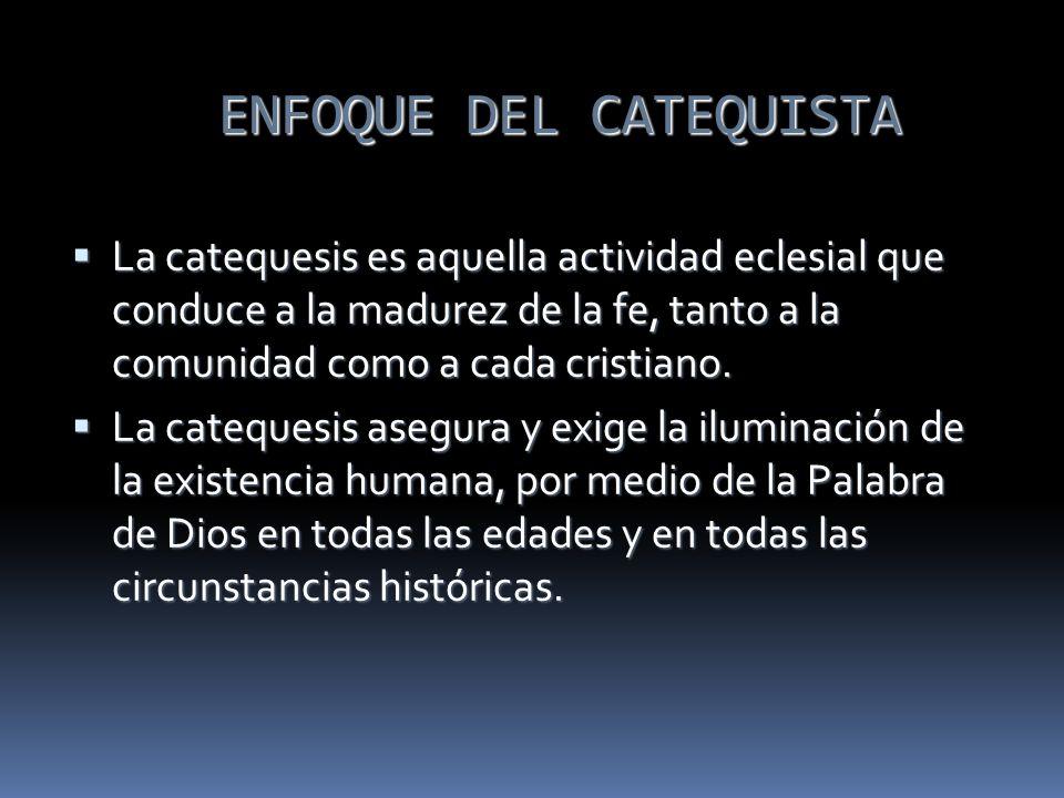 ENFOQUE DEL CATEQUISTA La catequesis es aquella actividad eclesial que conduce a la madurez de la fe, tanto a la comunidad como a cada cristiano. La c