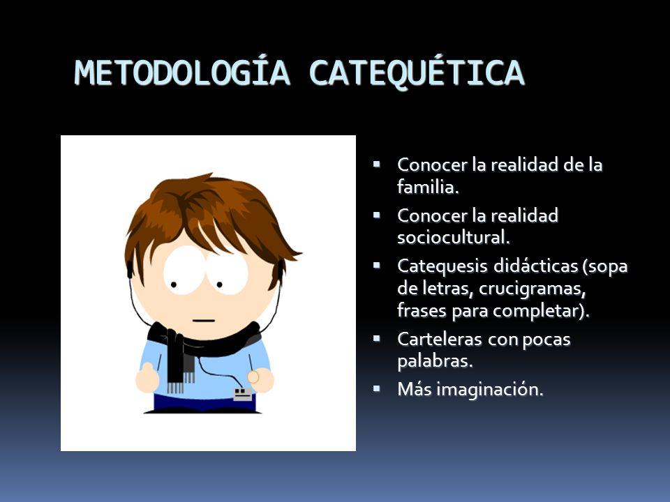 METODOLOGÍA CATEQUÉTICA Conocer la realidad de la familia. Conocer la realidad de la familia. Conocer la realidad sociocultural. Conocer la realidad s