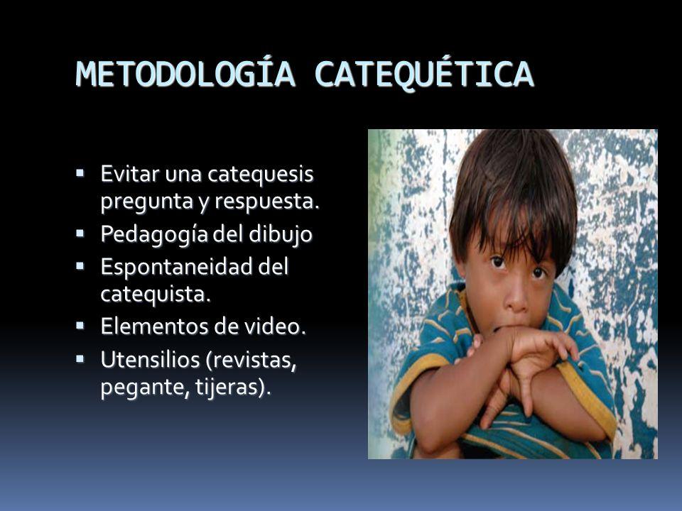 METODOLOGÍA CATEQUÉTICA Evitar una catequesis pregunta y respuesta. Evitar una catequesis pregunta y respuesta. Pedagogía del dibujo Pedagogía del dib