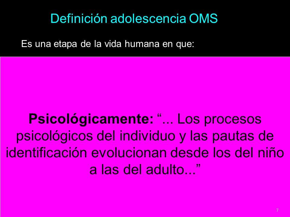 Definición adolescencia OMS Es una etapa de la vida humana en que: Psicológicamente:... Los procesos psicológicos del individuo y las pautas de identi