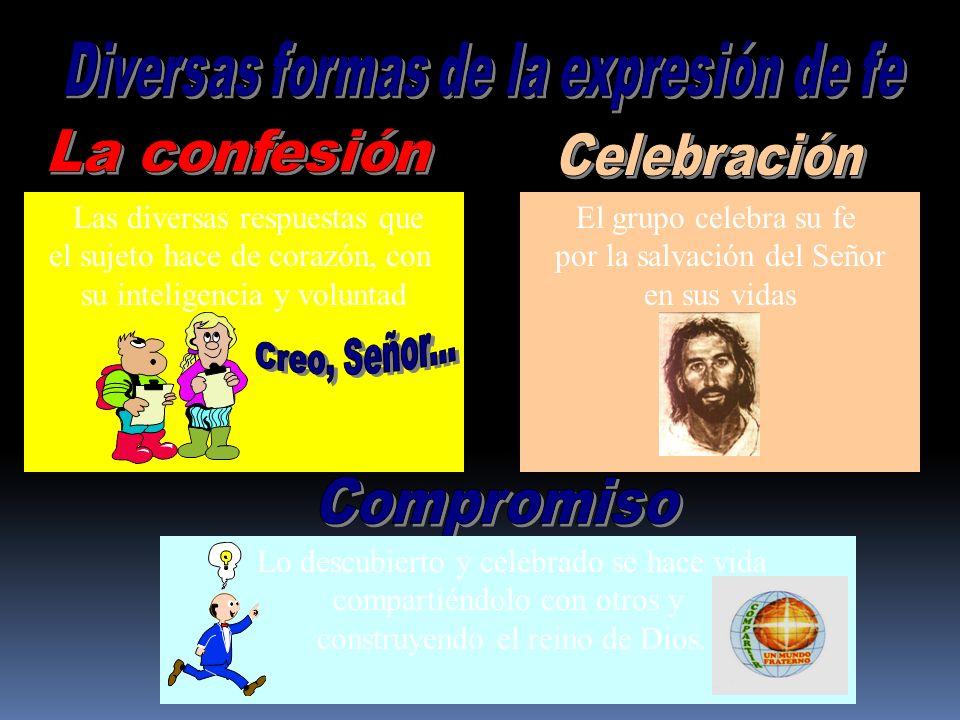 Las diversas respuestas que el sujeto hace de corazón, con su inteligencia y voluntad El grupo celebra su fe por la salvación del Señor en sus vidas L