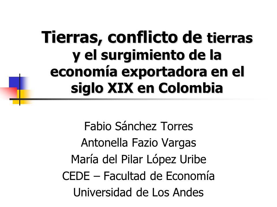 Hipótesis y motivación El trabajo sostiene que la lánguida inserción de Colombia al mercado mundial a finales del siglo XIX fue resultado de la debilidad de los Derechos de Propiedad formales sobre la tierra en particular en las frontera.