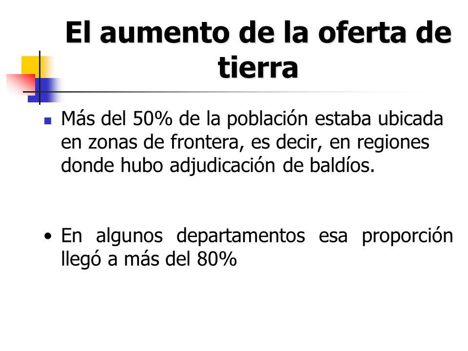 El aumento de la oferta de tierra Más del 50% de la población estaba ubicada en zonas de frontera, es decir, en regiones donde hubo adjudicación de ba