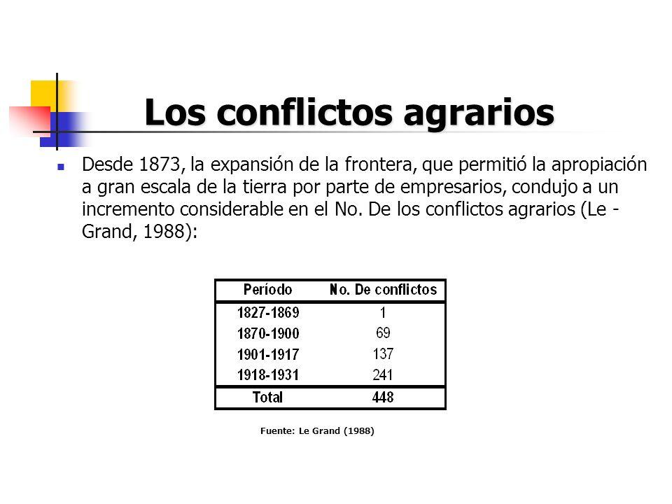 Los conflictos agrarios Desde 1873, la expansión de la frontera, que permitió la apropiación a gran escala de la tierra por parte de empresarios, cond