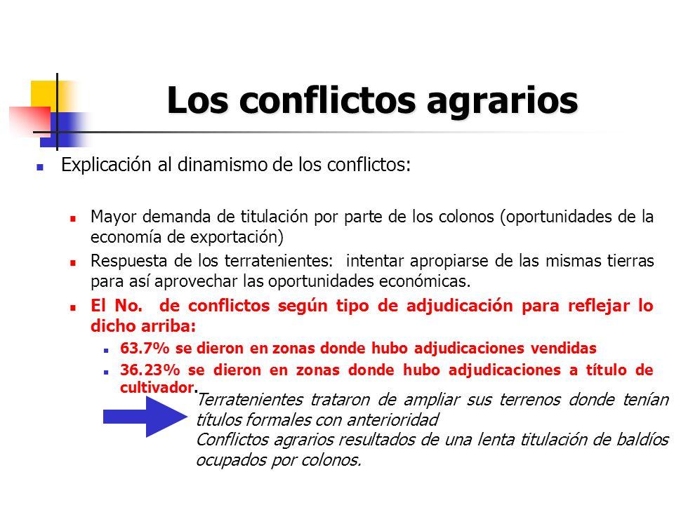 Los conflictos agrarios Explicación al dinamismo de los conflictos: Mayor demanda de titulación por parte de los colonos (oportunidades de la economía