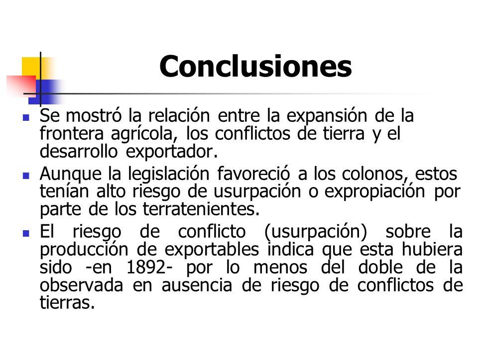 Conclusiones Se mostró la relación entre la expansión de la frontera agrícola, los conflictos de tierra y el desarrollo exportador. Aunque la legislac