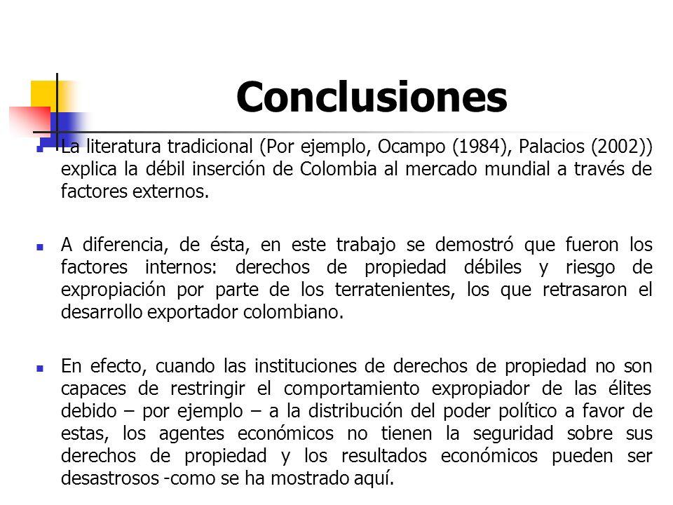 Conclusiones La literatura tradicional (Por ejemplo, Ocampo (1984), Palacios (2002)) explica la débil inserción de Colombia al mercado mundial a travé