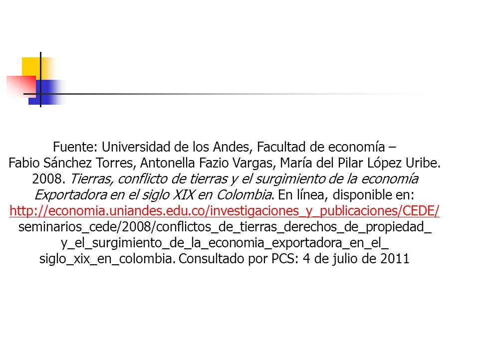 Fuente: Universidad de los Andes, Facultad de economía – Fabio Sánchez Torres, Antonella Fazio Vargas, María del Pilar López Uribe. 2008. Tierras, con