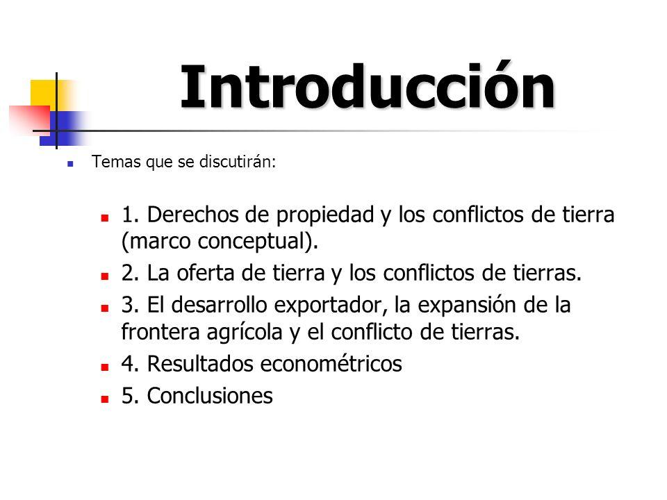 Introducción Temas que se discutirán: 1. Derechos de propiedad y los conflictos de tierra (marco conceptual). 2. La oferta de tierra y los conflictos