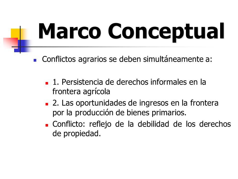 Marco Conceptual Conflictos agrarios se deben simultáneamente a: 1. Persistencia de derechos informales en la frontera agrícola 2. Las oportunidades d