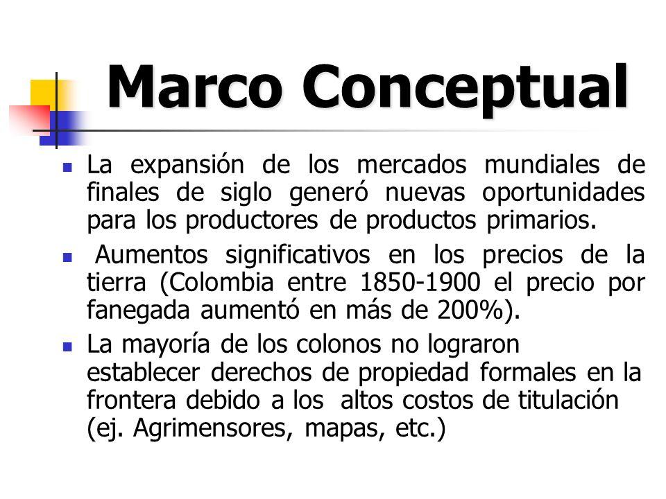 La descomposición del efecto del conflicto sobre la producción de exportables indica que esta hubiera sido en 1892 por los menos el doble de la observada en ausencia de conflictos de tierra.