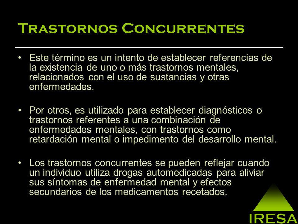 Trastornos Concurrentes A los trastornos concurrentes de enfermedad mental y abuso de sustancias psicoactivas, antes se le llamaba Diagnóstico Dual.