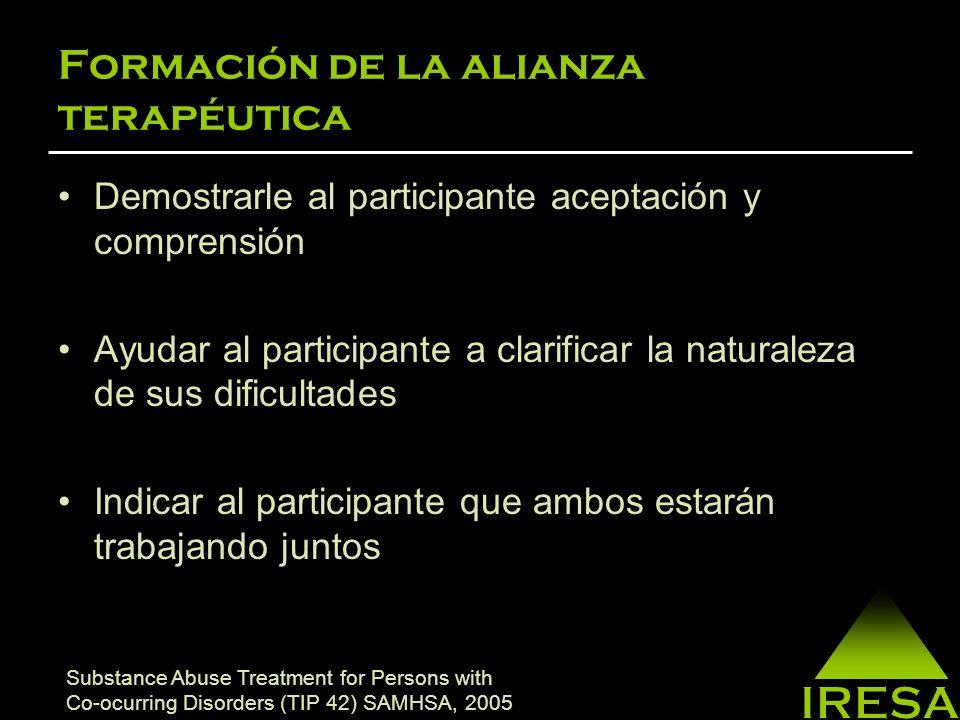 Formación de la alianza terapéutica Comunicarle al cliente que le estará ayudando, a que se ayude el/ella mismo(a).