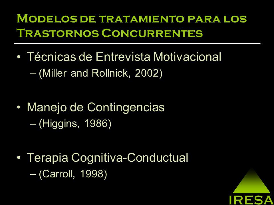Modelos de tratamiento para los Trastornos Concurrentes Prevención de Recaídas –(Gorski, 2000; Marlatt, 1999) Construir y reforzar habilidades –(Monti, 1993) Participar en grupos de apoyo –(Dupont, 1994)