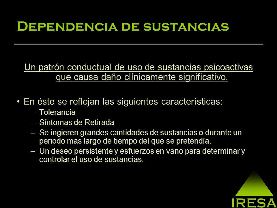 Dependencia de sustancias Un patrón conductual de uso de sustancias psicoactivas que causa daño clínicamente significativo.