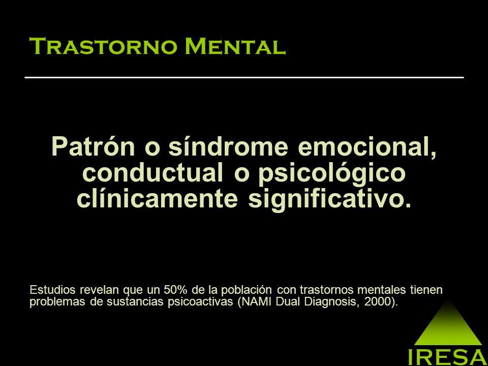Trastorno Mental y Abuso/ Dependencia de Sustancias Una de cada tres personas con depresión también sufren de abuso de sustancias.