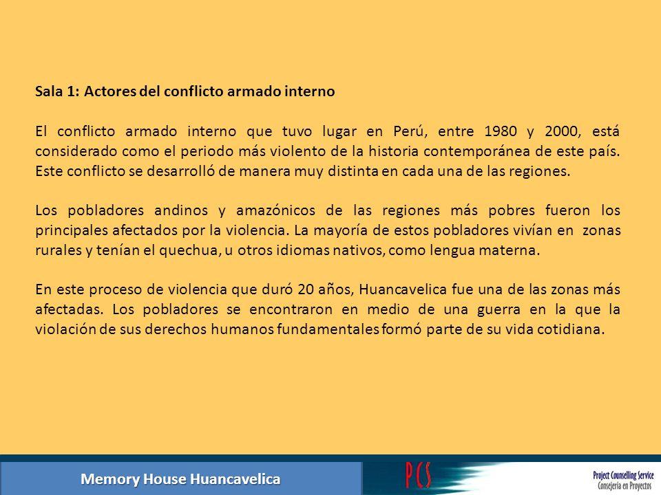 Memory House Huancavelica Summary photographic exhibition hall 3: Aftermath of armed conflict Collage de fotos y textos de casos de personas desaparecidas proporcionadas por los familiares.