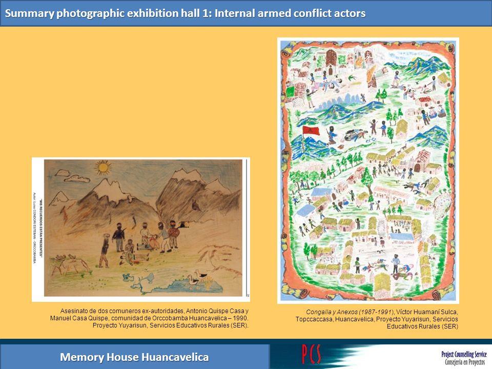 Memory House Huancavelica Summary photographic exhibition hall 1: Internal armed conflict actors Cartas, Documentos y Foto del Archivo del Centro de Información para la memoria colectiva y los Derechos Humanos.
