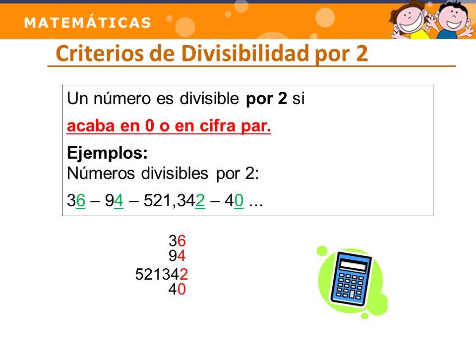 Criterios de Divisibilidad por 3 Un número es divisible por 3 si Un número es divisible por 3 si la suma de sus cifras es múltiplo de 3.