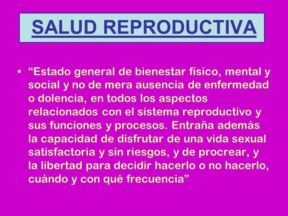 SALUD REPRODUCTIVA Estado general de bienestar físico, mental y social y no de mera ausencia de enfermedad o dolencia, en todos los aspectos relacionados con el sistema reproductivo y sus funciones y procesos.