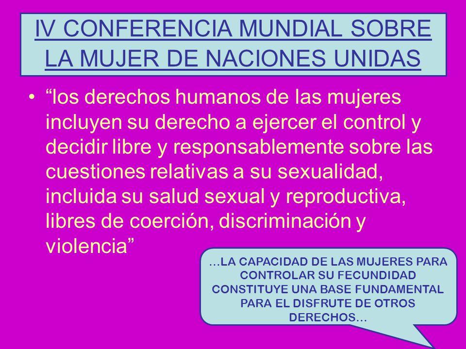 IV CONFERENCIA MUNDIAL SOBRE LA MUJER DE NACIONES UNIDAS los derechos humanos de las mujeres incluyen su derecho a ejercer el control y decidir libre y responsablemente sobre las cuestiones relativas a su sexualidad, incluida su salud sexual y reproductiva, libres de coerción, discriminación y violencia …LA CAPACIDAD DE LAS MUJERES PARA CONTROLAR SU FECUNDIDAD CONSTITUYE UNA BASE FUNDAMENTAL PARA EL DISFRUTE DE OTROS DERECHOS…