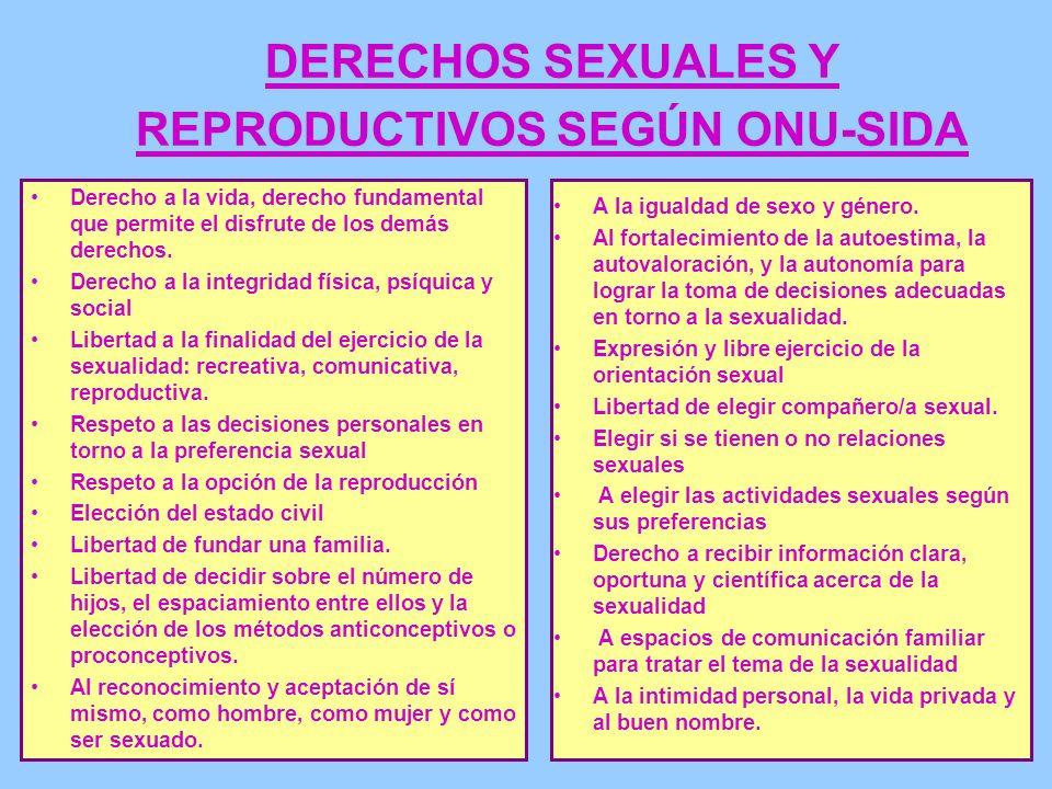 DERECHOS SEXUALES Y REPRODUCTIVOS SEGÚN ONU-SIDA Derecho a la vida, derecho fundamental que permite el disfrute de los demás derechos. Derecho a la in