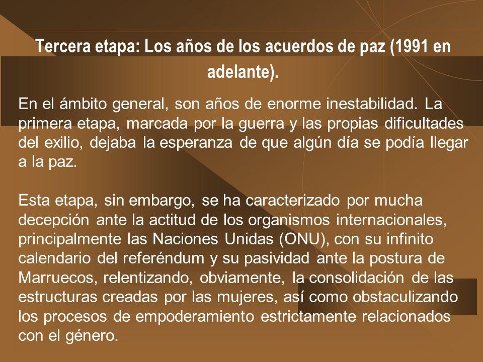 Segunda etapa: Los años de reivindicación femenina y su vinculación a la causa política (1979-1990). Durante este tiempo, una vez cubiertas las necesi
